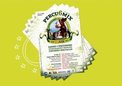 Logo et flyer de la 7ème édition du festival Percu6mix