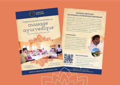 Flyer A6 et affiches A4 pour une formation en massage ayurvédique organisée par Elemental Bodywork en Haute Garonne